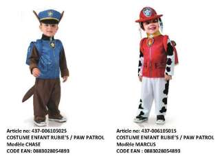 2 Costumes déguisements Paw Patrol