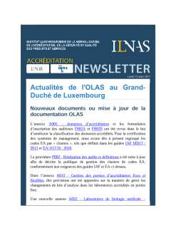 Newsletter OLAS - Mars 2017