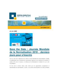 Newsletter normalisation septembre 2018